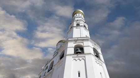 temple bell : Ivan the Great Bell against the sky. Moscow Kremlin, Russia. UNESCO World Heritage Site Stock Footage