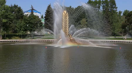 tudo : Golden Spike fountain on Kamensky pond in VDNH park. VDNKh (also called All-Russian Exhibition Center) is a permanent general-purpose trade show in Moscow, Russia