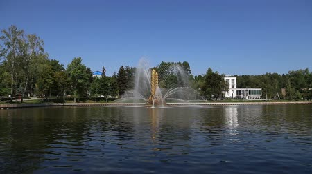 коммунизм : Golden Spike fountain on Kamensky pond in VDNH park. VDNKh (also called All-Russian Exhibition Center) is a permanent general-purpose trade show in Moscow, Russia
