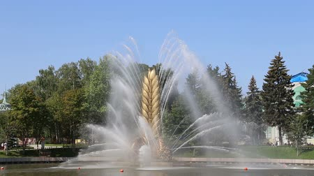 espigas : Golden Spike fountain on Kamensky pond in VDNH park. VDNKh (also called All-Russian Exhibition Center) is a permanent general-purpose trade show in Moscow, Russia