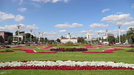 former : Landmarks in the territory of VDNKh (All-Russia Exhibition Center, also called All-Russian Exhibition Center), Moscow, Russia. Stock Footage