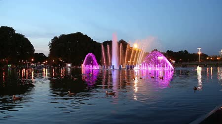 gorky : Colorful Lights of the Dancing Fountain in Gorky Park (at night), Moscow, Russia Stock Footage
