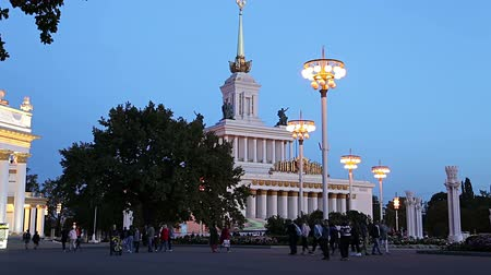 павильон : Landmarks in the territory of VDNKh (All-Russia Exhibition Center, also called All-Russian Exhibition Center), Moscow, Russia. Стоковые видеозаписи