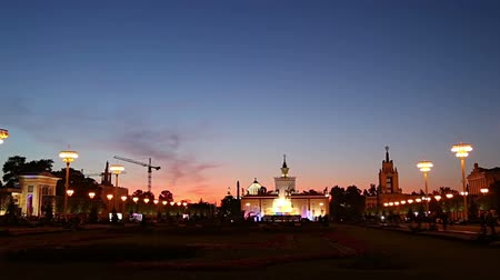 soviético : Landmarks in the territory of VDNKh (All-Russia Exhibition Center, also called All-Russian Exhibition Center), Moscow, Russia. Stock Footage