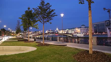 arranging : Bolotnaya Embankment and Drainage channel (at night), Moscow city historic center, popular landmark. Russia