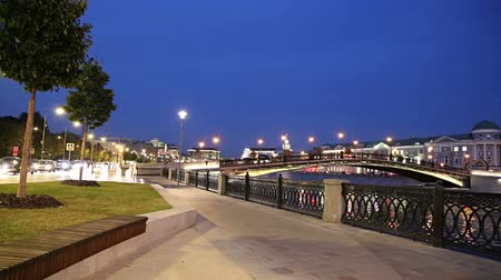 drenar : Bolotnaya Embankment and Drainage channel (at night), Moscow city historic center, popular landmark. Russia