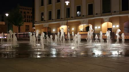 배수 : Fountains on the Bolotnaya Embankment (at night), Moscow city historic center, popular landmark. Russia