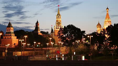 kreml : View of the Moskva River and the Kremlin (at night), Moscow, Russia - the most popular view of Moscow Stock mozgókép