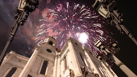 megmentő : Fireworks over the Christ the Savior Cathedral, Moscow, Russia. Stock mozgókép