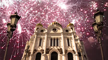 megmentő : Fireworks over the Christ the Savior Cathedral, Moscow, Russia Stock mozgókép