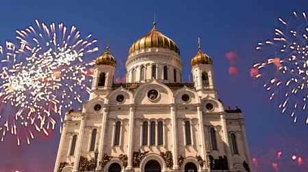 saviour : Fireworks over the Christ the Savior Cathedral, Moscow, Russia Stock Footage