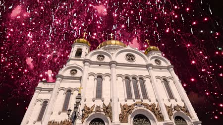 de jesus : Fireworks over the Christ the Savior Cathedral, Moscow, Russia. Archivo de Video