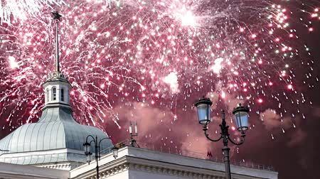 urss : Fireworks over the entrance to the metro station Komsomolskaya. Moscow, Russia
