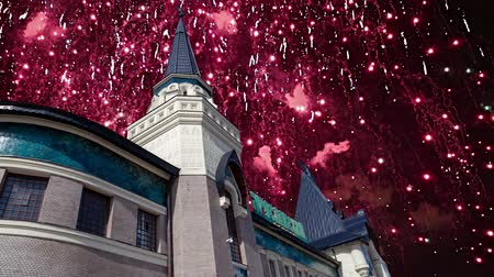 írott : Fireworks over the Yaroslavsky railway station building (Written Yaroslavsky railway station in Russian), Moscow, Russia