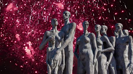 peoples : Fireworks over the Monument The tragedy of peoples in Victory Park on Poklonnaya Hill (Gora), Moscow, Russia-- established in memory of the victims of the fascist genocide Stock Footage