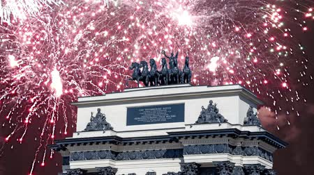 sírkő : Fireworks over the Triumphal arch on Kutuzov Avenue in Moscow, Russia. This Triumphal Arch was built in honor of the memory of the great Russian victory in 1814 ... ?inscription in Russian. reconstructed here in 1968