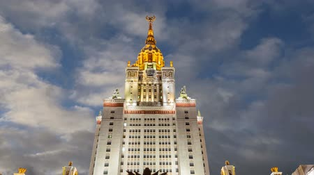 sovyet : Main building of the Moscow State University on Sparrow Hills (on the background of moving clouds), Russia