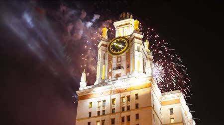 sparrow hills : Fireworks over the main building of the Moscow State University on Sparrow Hills, Russia Stock Footage