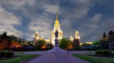 основной : Main building of the Moscow State University on Sparrow Hills (on the background of moving clouds), Russia