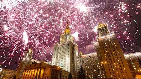 soviético : Fireworks over the main building of the Moscow State University on Sparrow Hills, Russia Stock Footage