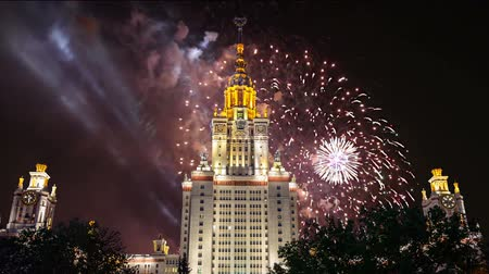 main : Fireworks over the main building of the Moscow State University on Sparrow Hills, Russia Stock Footage
