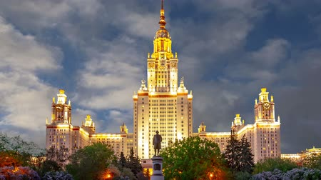 sparrow hills : Main building of the Moscow State University on Sparrow Hills (on the background of moving clouds), Russia