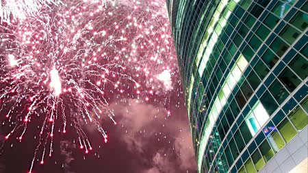 stiff : Fireworks over the Skyscrapers of the International Business Center (City), Moscow, Russia Stock Footage