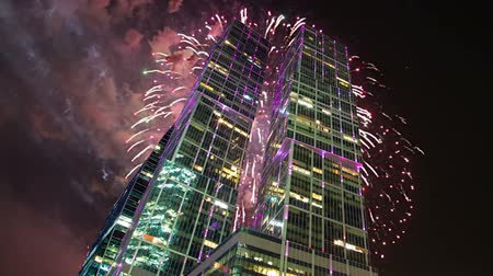 perspectives : Fireworks over the Skyscrapers of the International Business Center (City), Moscow, Russia Stock Footage