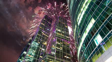 Fireworks over the Skyscrapers of the International Business Center (City), Moscow, Russia Stock mozgókép