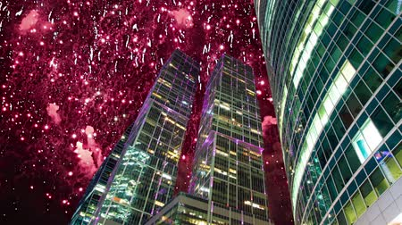 Fireworks over the Skyscrapers of the International Business Center (City), Moscow, Russia Stok Video