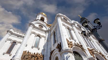 megmentő : View of the Christ the Savior Cathedral (day) on the background of moving clouds, Moscow, Russia