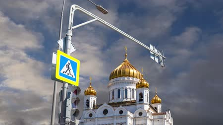 salvatore : View of the Christ the Savior Cathedral (day) on the background of moving clouds, Moscow, Russia
