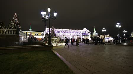 cremlino : Christmas (New Year holidays) decoration in Moscow (at night), Russia-- Manege Square near the Kremlin