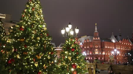 yerler : Christmas (New Year holidays) decoration in Moscow (at night), Russia-- Manege Square near the Kremlin