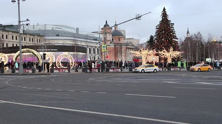 Christmas (New Year holidays) decoration on Zaryadye Park-- urban park located near Red Square in Moscow, Russia. Journey to Christmas, Moscow seasons-inscription in Russian