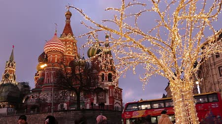 Saint Basil cathedral (Temple of Basil the Blessed) and Christmas (New Year) decoration, Moscow, Russia. View from Zaryadye Park. Journey to Christmas, Moscow seasons
