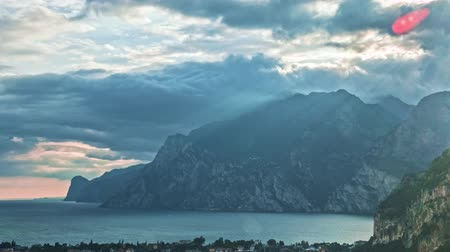 arco : Landscape with Lake Garda, Italy. Timelapse Stock Footage