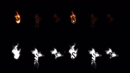inflamável : Burning font. Burn fire word text with flame and smoke on black background with alpha channel. Vídeos