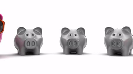save the animals : Piggy bank row, seamless loop