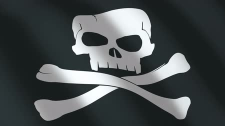 pirates : Black Flag with a skull. seamless loop. 3d render