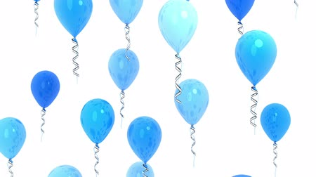 Blue balloons, seamless loop and alpha channel. 3d render