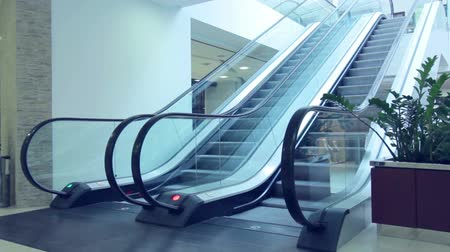 upward movement : Escalators moving in different directions Stock Footage