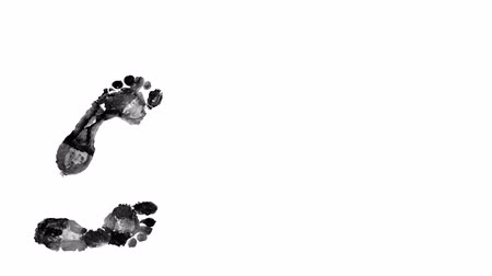 parmak izi : Black steps on white background Stok Video