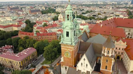 wawel : View from the heights of Wawel Castle in the historic center of Krakow Stock Footage