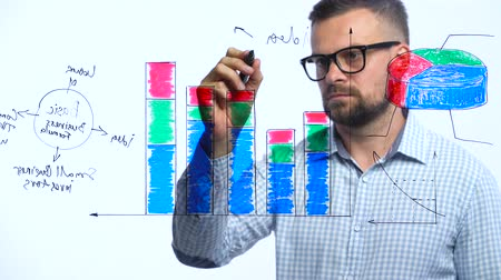 collaborating : Man draws various growth charts, calculating prospects for success in a modern glass office