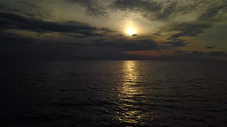 sea breeze : Beautiful sunset over the sea - aerial survey with a drone Stock Footage
