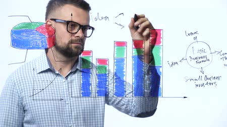 vzorec : Man draws various growth charts, calculating prospects for success in a modern glass office