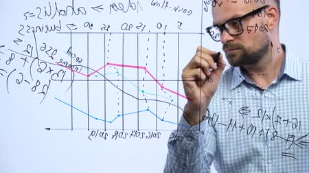 marker : Man draws various growth charts, calculating prospects for success in a modern glass office