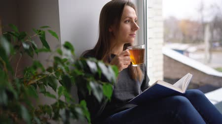 sill : Beautiful young woman sitting on window sill with tea and reading book Stock Footage