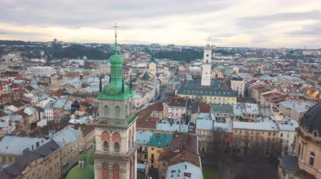 západ : Aerial view of the historical center of Lviv. Shooting with drone Dostupné videozáznamy